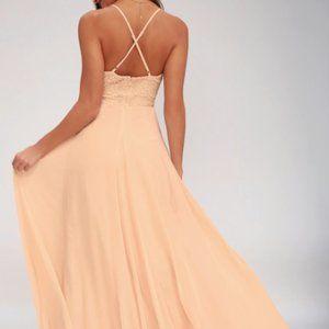 Lulu's Madalyn Blush Lace Bridesmaid Dress